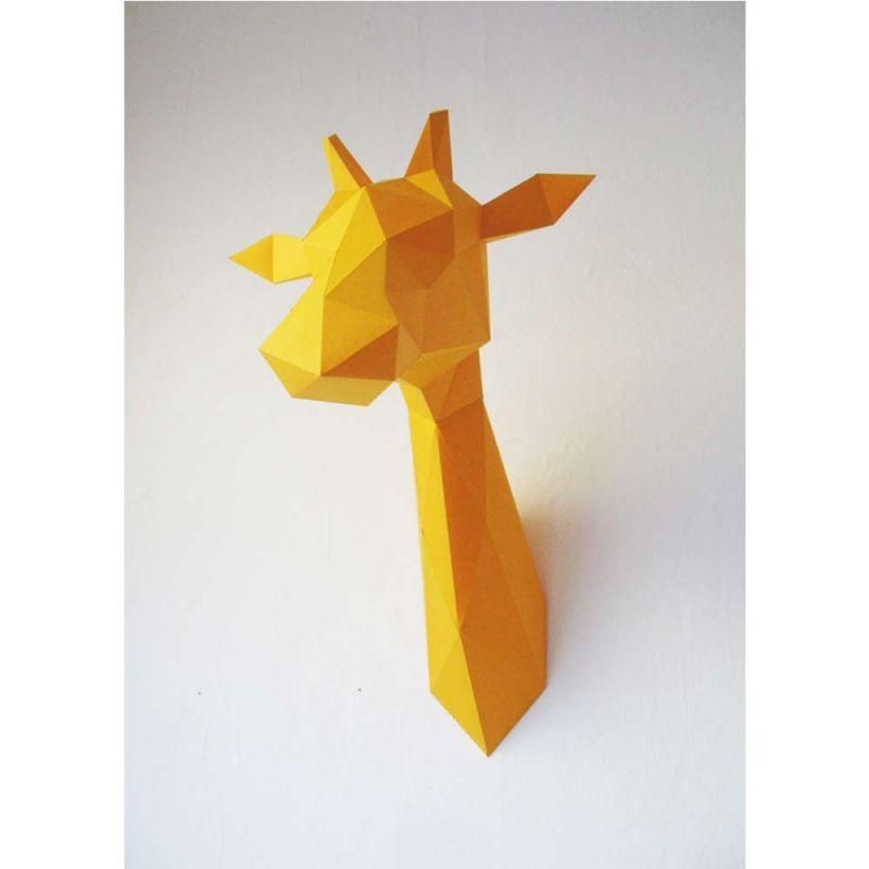 Kit papier origami troph e t te de girafe assembli - Origami tete de cerf ...