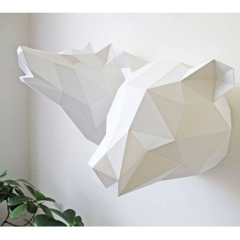 kit papier origami troph e ours blanc assembli. Black Bedroom Furniture Sets. Home Design Ideas