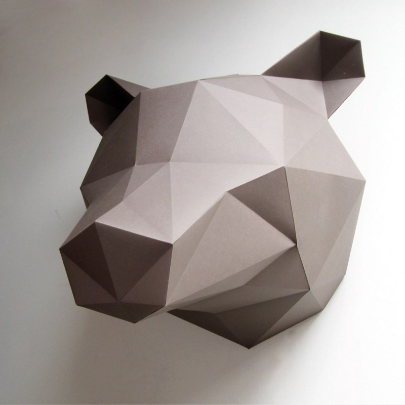 troph e en origami ours brun de assembli. Black Bedroom Furniture Sets. Home Design Ideas