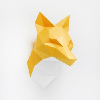 Trophée en origami Renard orange avec cou blanc ou orange Assembli