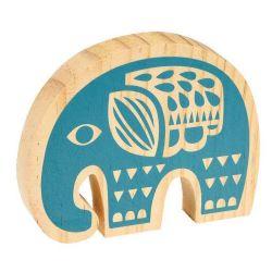 Décoration élephant en bois peint