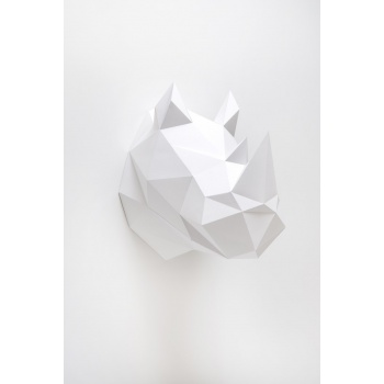 Trophée en origami Rhino Blanc Assembli