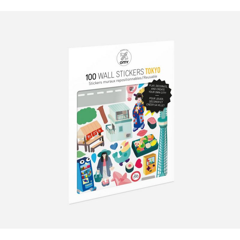100 stickers muraux tokyo repositionnables omy design paris - Stickers muraux repositionnables ...