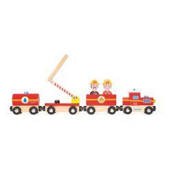 Boîte Train et pompiers - jouet en bois - 3 à 6 ans