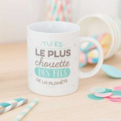 "Mug en coffret "" Tu es le plus chouette des fils de la planète"" Mr Wonderful"