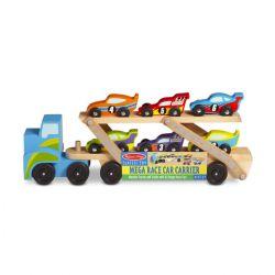 Camion porte voitures de course en bois