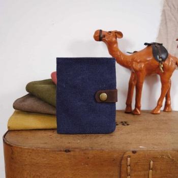 Porte feuille cuir et toile bleu nuit