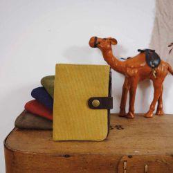 Porte feuille cuir et toile jaune