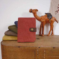 Porte feuille cuir et toile rouge