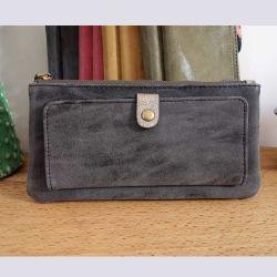 Porte-feuilles en cuir gris bleuté avec pochette avant