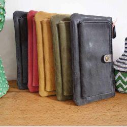 Porte-feuille en cuir gris avec pochette avant
