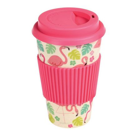 Mug de voyage flamant rose fibre de bambou