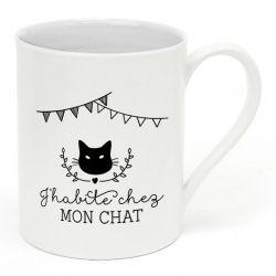 "Mug ""J''habite chez mon chat"""