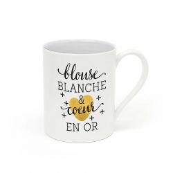 "Mug ""Blouse blanche et coeur en or"""