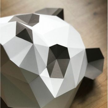 Kit tête de panda brun en origami Assembli
