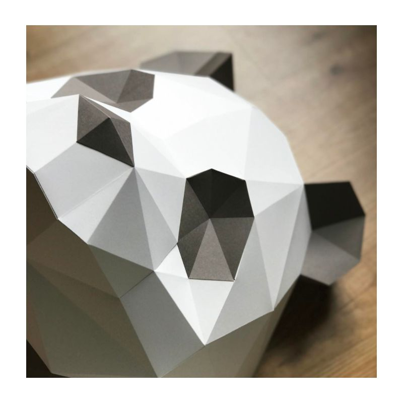 Kit t te de panda brun en origami assembli - Tete de panda dessin ...