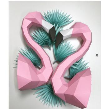 2 Trophées en origami Flamant rose Assembli