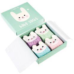 Coffret cadeau 4 chaussettes - bébé lapin