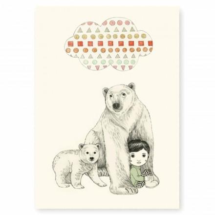 Affiche A4 Ours polaire et petite fille sous un nuage