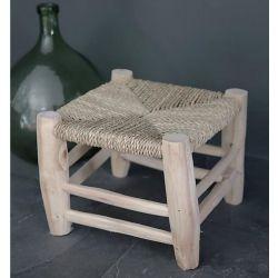 Tabouret en bois naturel 25 cm Artisanat marocain