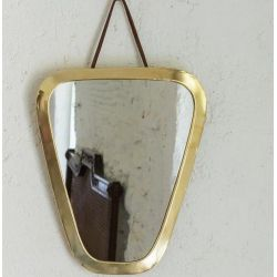 Miroir bords doré seventies 29 cm