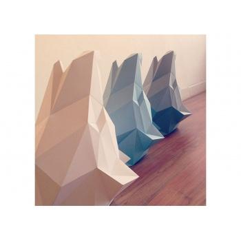 Trophée origami Loup bleu