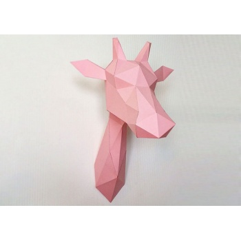 Trophée origami Girafe rose