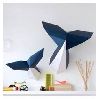 Trophée origami Baleine