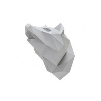 Trophée origami Loup gris