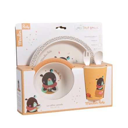 Set vaisselle ocre en bambou Moulin Roty