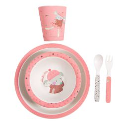 Set vaisselle rose en bambou Moulin Roty