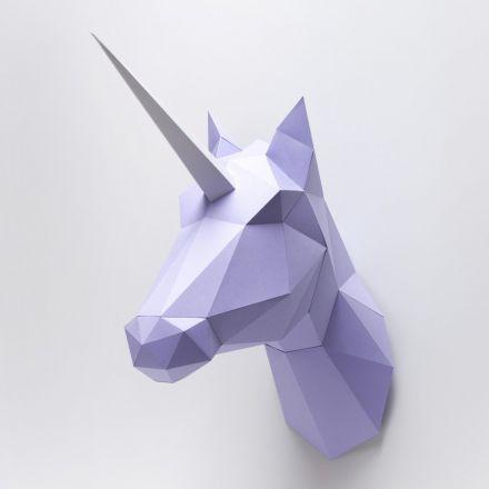Trophée en origami Cheval / Licorne purple Assembli