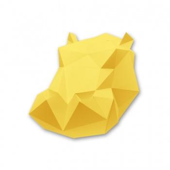Kit tête d'hippopotame jaune en origami Assembli