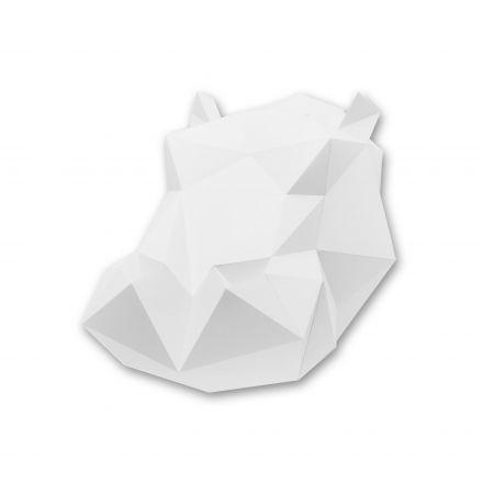 Kit tête d'hippopotame blanc en origami Assembli