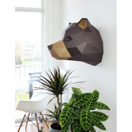 Kit tête de grizzly chocolat en origami Assembli
