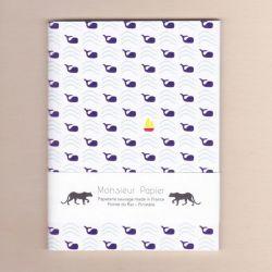 Petit carnet baleines 14 cm - Monsieur Papier