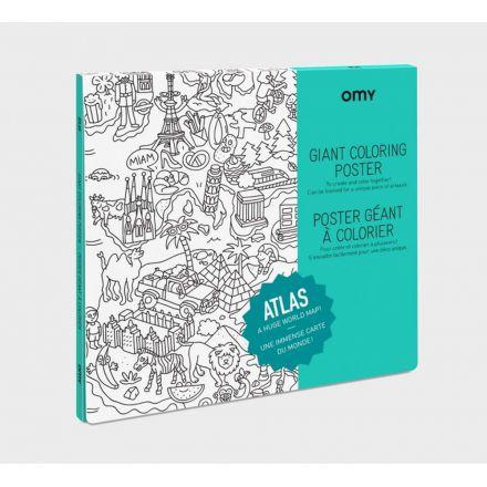 Poster géant à colorier Atlas 100 cm x 70 cm Omy Design and Play