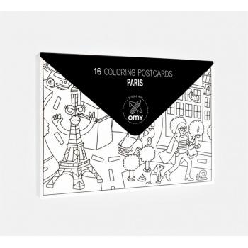 16 Cartes postales à colorier Paris Omy Design and Play