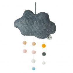 Nuage gris en velours côtelé avec pompoms Picca Loulou