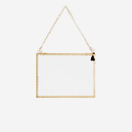Miroir bord en en dentelle métal doré longueur