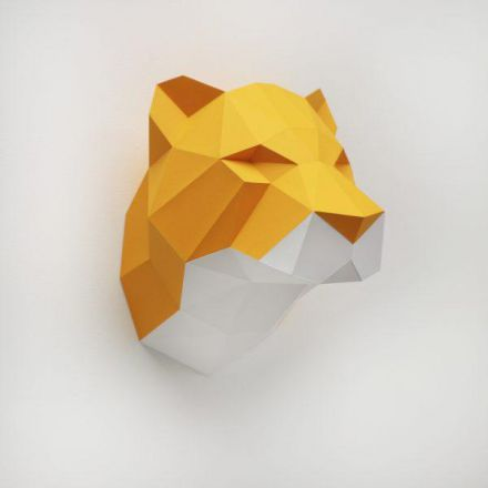 Trophée origami tigre orange