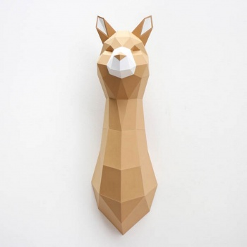 Trophée en origami - Lama Alpaca - Caramel - Assembli