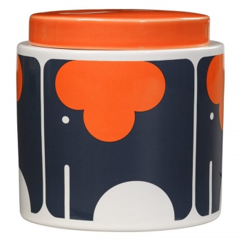 Pot en céramique Orla Kiely tons orange sur fond noir