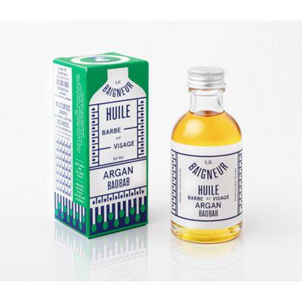 Huile barbe et visage Argan Baobab 50 ml - Le Baigneur