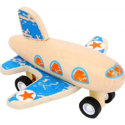 Avion en bois bleu