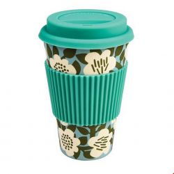 Travel mug fleurs blanches fond bleu en bambou