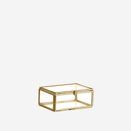 Petite vitrine de présentation - Rebords dorés - 8,5 x 6 x 3.5 cm