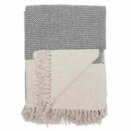 Plaid d'été motifs gris en coton - 160 x 130 cm - Bloomingville