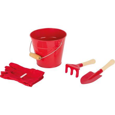 Outils de jardinage et sceau - Couleur rouge