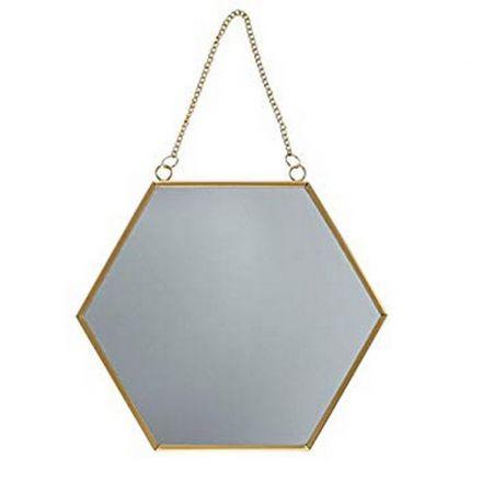 Miroir hexagone doré